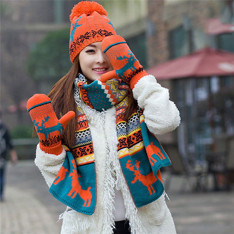Winter New Women's Christmas Scarf Hat Gloves Three-piece Furry Knit Elk Scarf Set Girl Lovely Birthday Christmas Gift Suit O16