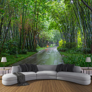 Custom Wall Painting 3D Green Bamboo Forest Road Photo Wallpapers For Living Room Sofa TV Background Wall Mural Papel De Parede green plant forest 3d stereo tv background wall professional production mural custom photo wall