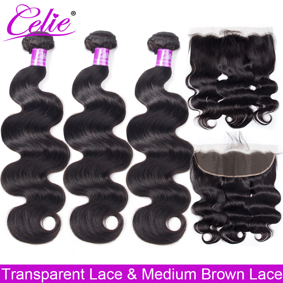 Celie Hair Brazilian Body Wave With Closure HD Transparent Lace Frontal With Bundles Remy Human Hair 3 Bundles With Closure