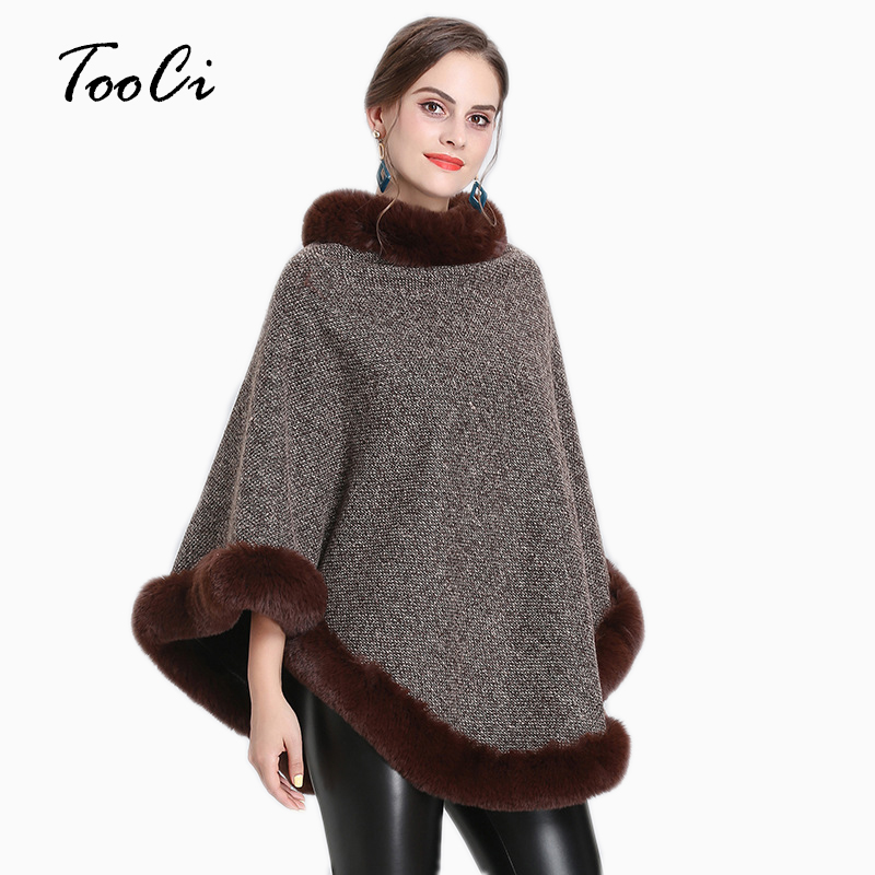New Spring Women Capes  Poncho  Faux Fox Fur Khaki Shawl Knitted Triangle Fur Sweater Plus Size Pullover Coat Fur Neck