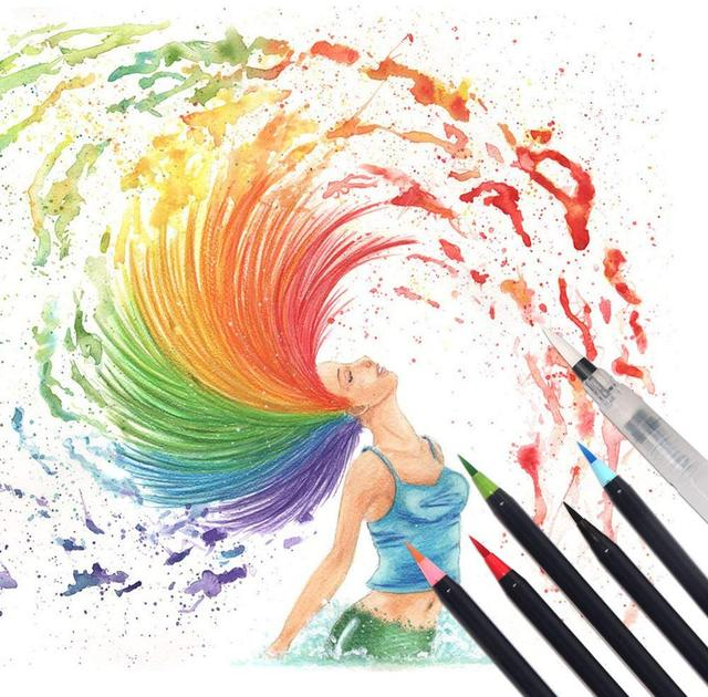 20 Color Watercolor Paint Brush pen set with Refillable water Coloring Pen for drawing painting Calligraphy art Kids gift A6901 4