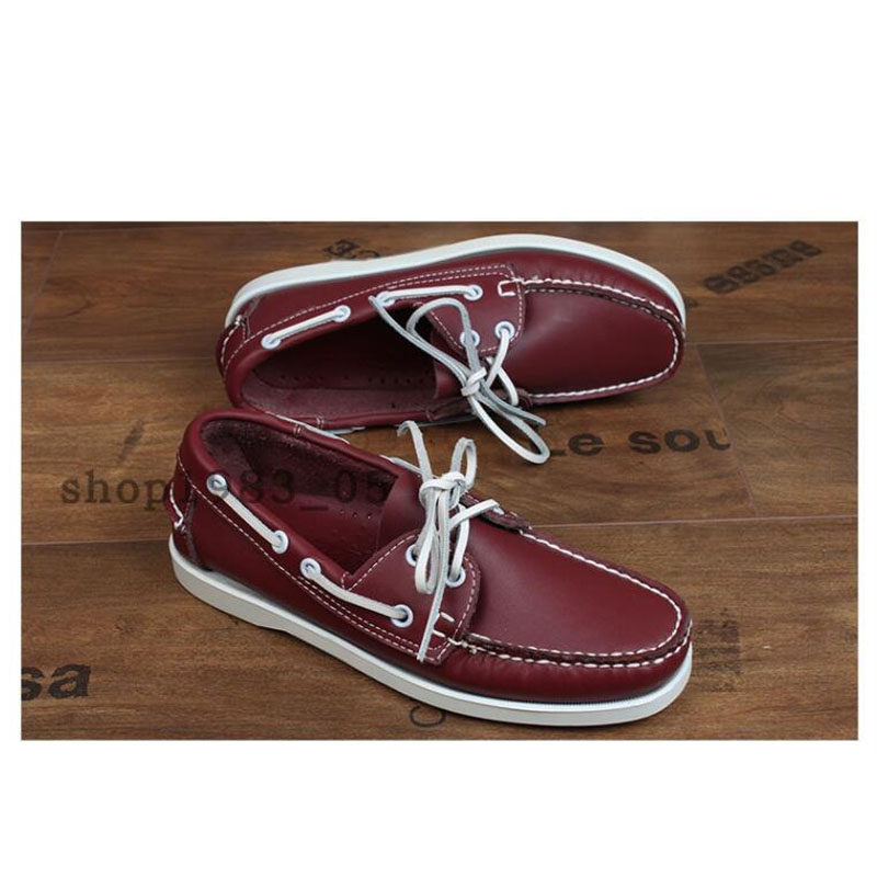 First layer cowhide Spring Summer Boat Shoes Mens Casual Shoes Loafers Genuine oil Wax Leather Handmade Comfortable Breathable