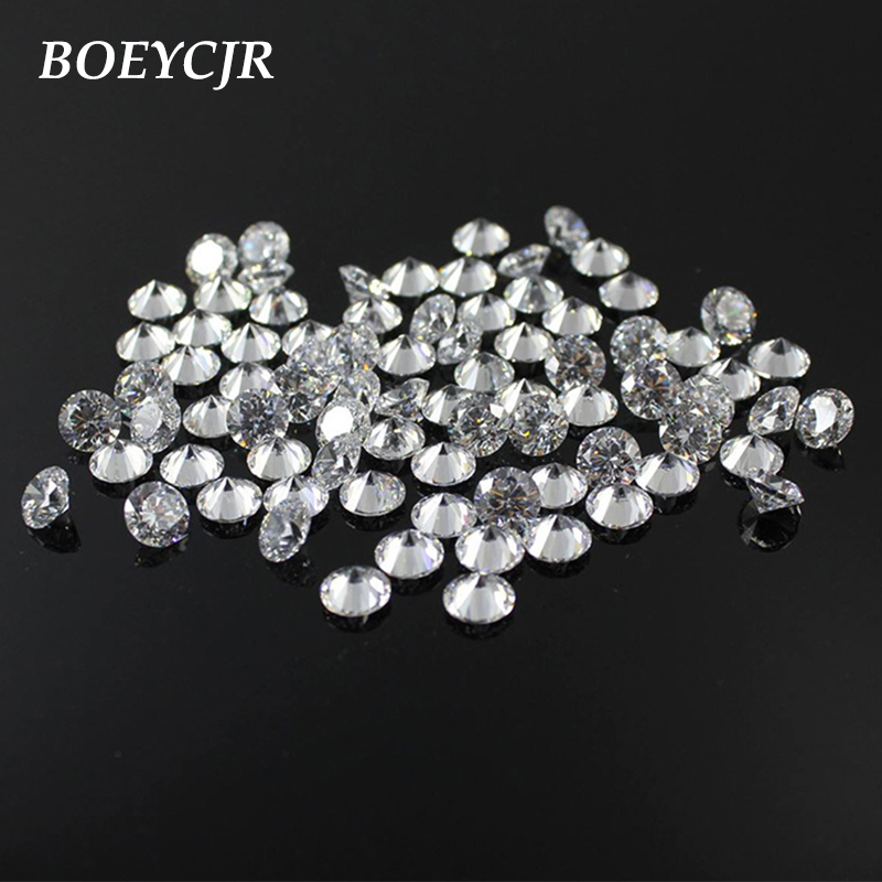 BOEYCJR 2pcs/lot 0.1ct 3mm D Color Round Brilliant Cut Moissanite Loose Stone VVS1 3E Excellent Cut Jewelry Making Stone
