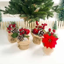 6 Inch Mini Artificial Christmas Tree With Berries And Pine Cone Decorations Holiday Tabletop Potted Ornament