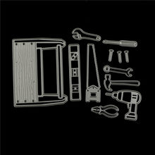 Cool Man In Tool Box Metal Cutting Dies Stencils For DIY Scrapbooking Photo Album Paper Cards Decorative Craft 12pcs/Set(China)