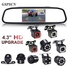 GSPSCN, 4,3 дюймов, автомобильное HD зеркало заднего вида, монитор, CCD видео, автомобильная парковочная система, светодиодный, инфракрасное видение, камера заднего вида