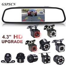 GSPSCN 4.3 بوصة سيارة HD مرآة الرؤية الخلفية رصد CCD فيديو السيارات وقوف السيارات المساعدة LED الأشعة تحت الحمراء الرؤية عكس كاميرا الرؤية الخلفية