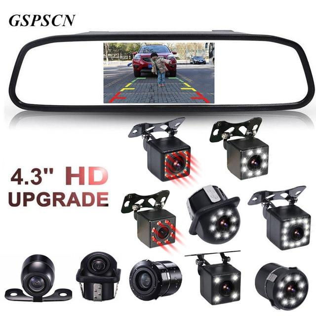 GSPSCN Monitor de espejo HD para coche, 4,3 pulgadas, CCD, vídeo de asistencia de estacionamiento para coche, visión infrarroja LED, cámara de visión trasera de marcha atrás