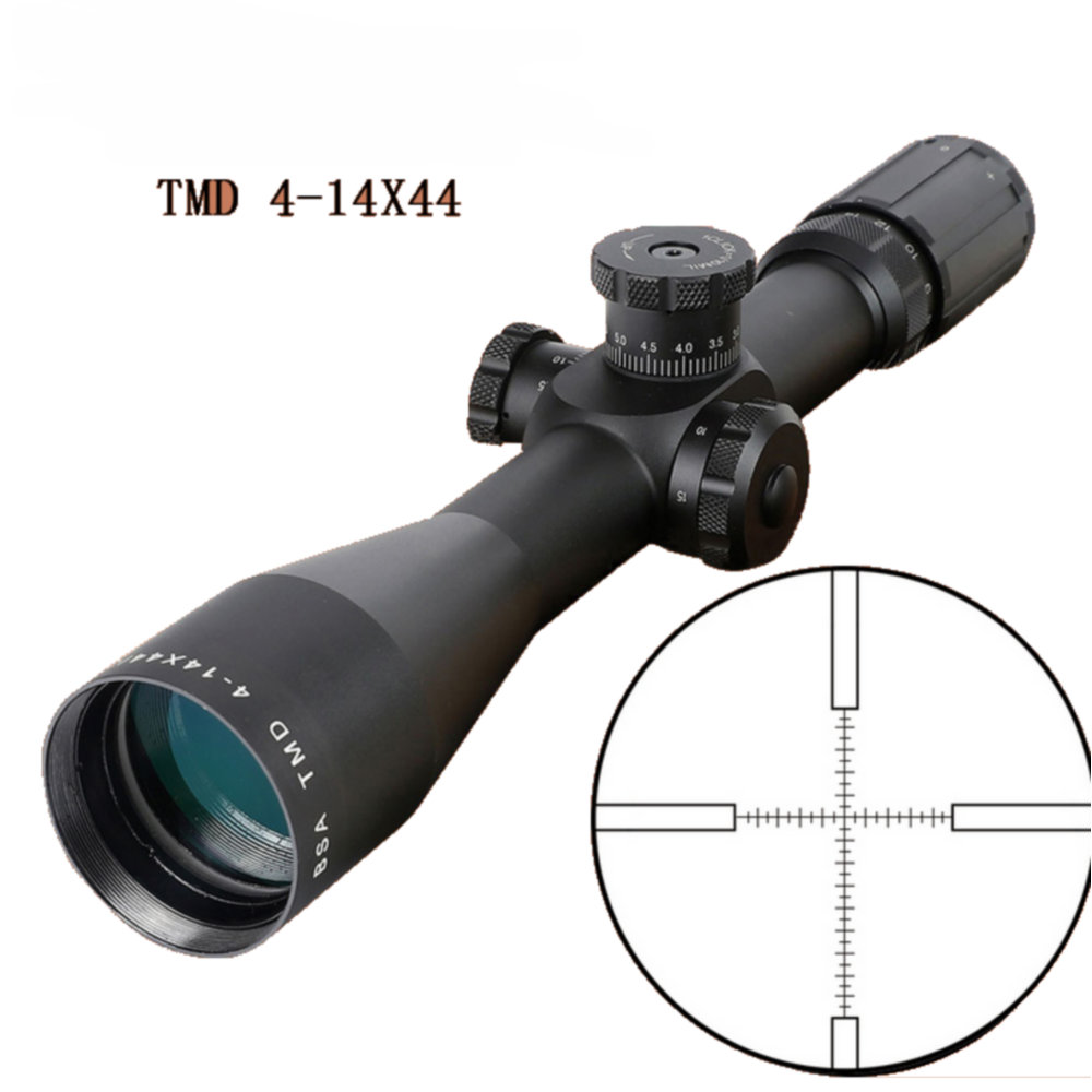 TMD 4-14X44 FFP Hunting Riflescope First Focal Plane Glass Mil Dot Reticle Tactical Optics Sight Side Parallax Rifle Scope