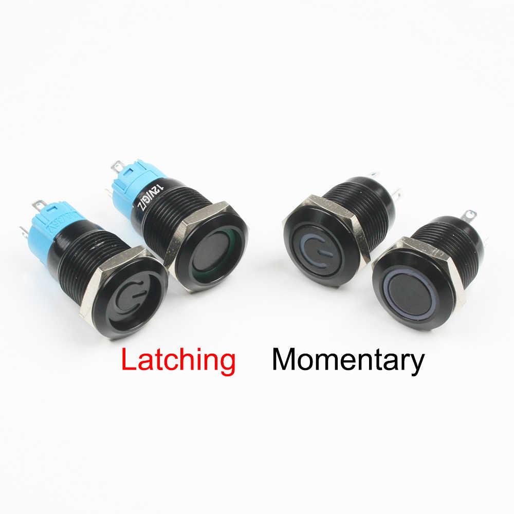 黒プッシュボタンスイッチ 4 ピン 12 ミリメートル防水イルミネーションledライト金属フラット瞬間的なスイッチ電源マーク 3v 6v 12v 24v