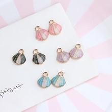 6 pcs summer fresh seaside pearlescent shell pendant earrings for girls necklace bracelet pendant diy ear jewelry accessories