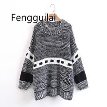 FENGGUILAI Vintage Chic Long Sleeve Green O-Neck Plaid Sweater for Woman All-Matching Pullovers Female Winter Knitwear Tops