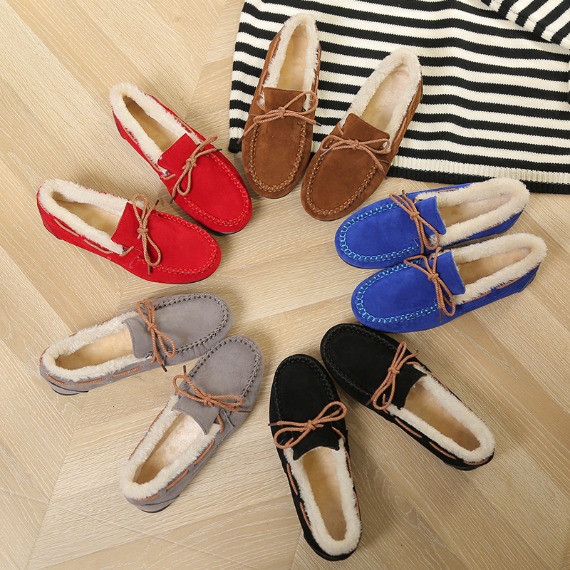Tangnest Winter Women Loafers Plush Slip on Flat Shoes Bow Warm Loafer