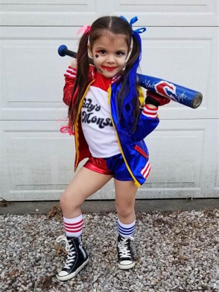 Cosplay Costumes Wig-Gloves Jacket Purim Harley Quinn Halloween Kids Girls Femme