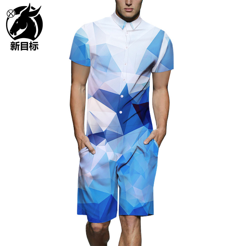 Short-sleeved Shirt Workwear Cross Border 2019 Summer Blue And White Gradient Check Print Onesie Street Popular Brand Onesie