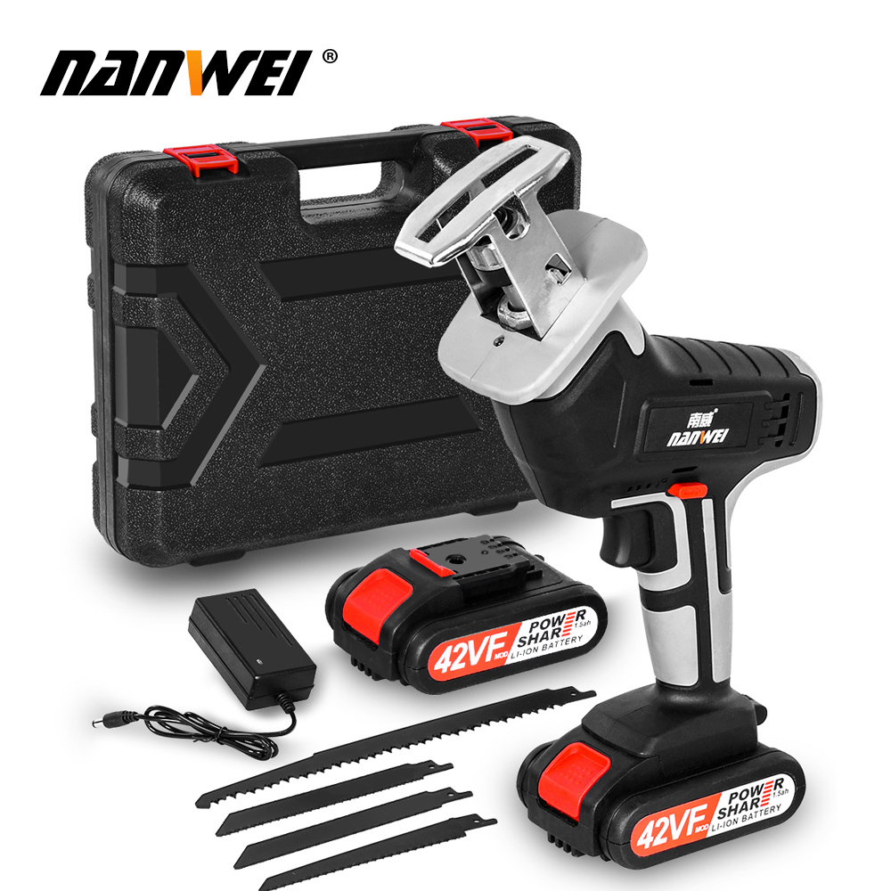 Portable Lithium Battery Charging Reciprocating Saw Wood Cutting Power Tools Electric Saw with 4pcs Saw Blade
