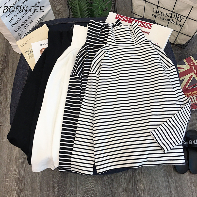 Long Sleeve T-shirts Women Elegant Unisex Loose Striped Turtleneck Womens All-match Simple Leisure Korean Style Trendy Chic