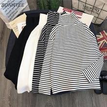 T-shirt à manches longues pour femmes, élégant, ample, rayé, col roulé, facile à assortir, Simple, loisirs, Style coréen, tendance, Chic