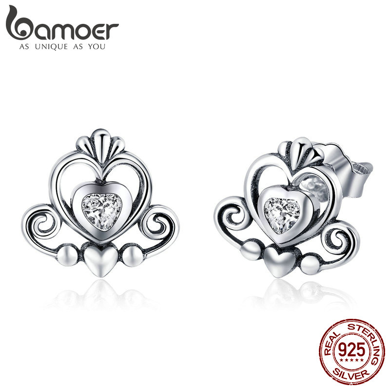 BAMOER New Collection 925 Sterling Silver Princess Crown Exquisite Stud Earrings For Women 2018 Earrings Silver Jewelry SCE420