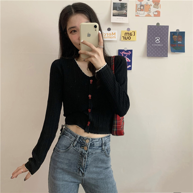 Korean Spring Women Knitted T Shirt 2020 Women Short Slim Tshirt Lady Long Sleeve Sweet Basic Tee Top Black Red White Purple