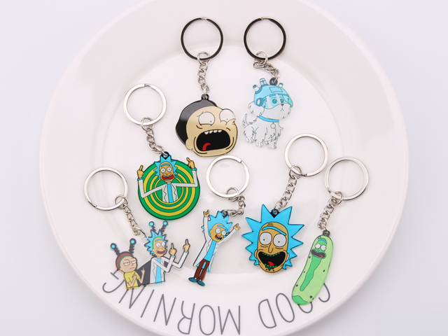 Rick And Morty Keychain Women and Men Key Chain Cute Anime Cartoon Kids Key Ring Gift Porte Clef 4