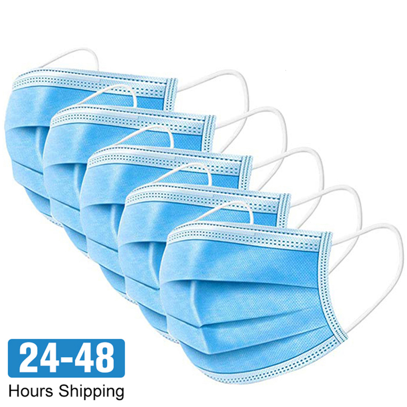 48 Hours Shipping!!! Factory Wholesale 100pcs Anti-Dust Mask Disposable Protect 3 Layers Dustproof Non-Woven Mouth Masks