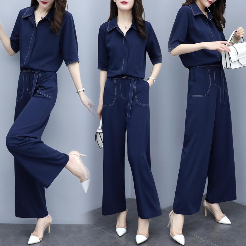 2019 Summer Crew Neck Solid Color Fashion Comfortable Elegant Half-sleeve Shirt Simple Versatile Set