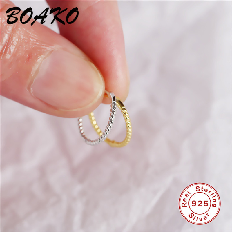 BOAKO Fashion Minimalist Jewelry Simple 925 Sterling Silver Earring Twisted Lines Round Circle Stud Earrings for Women Girl Gift