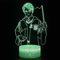 Gehetzt Hogwartsed 3D Nacht Lampe potter action Figure Spielzeug Led Remote Gesteuert RGB Magie schule Beleuchtung Kinder schlafzimmer Geschenk