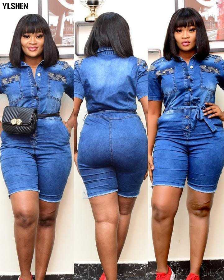 African Dresses For Women Denim Jumpsuit African Clothes Africa Dress Dashiki Ankara Style Mom Jeans Plus Size Africa Clothing 02