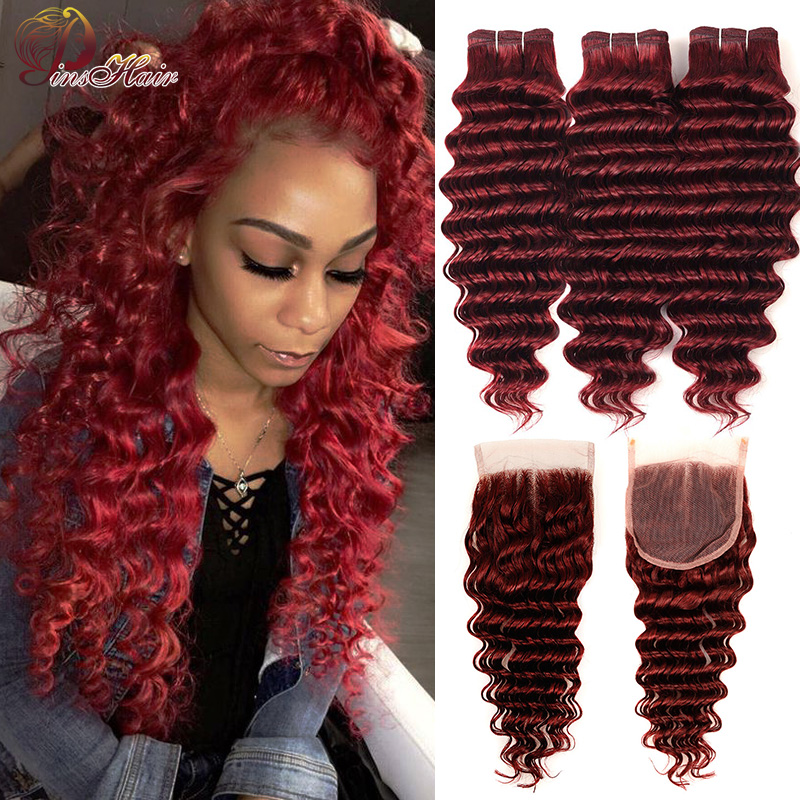 Burgundy Red Bundles With Closure 99J Brazilian Deep Wave Human Hair 3 Bundles With Closure Red Thick Bundles Pinshair Non-remy