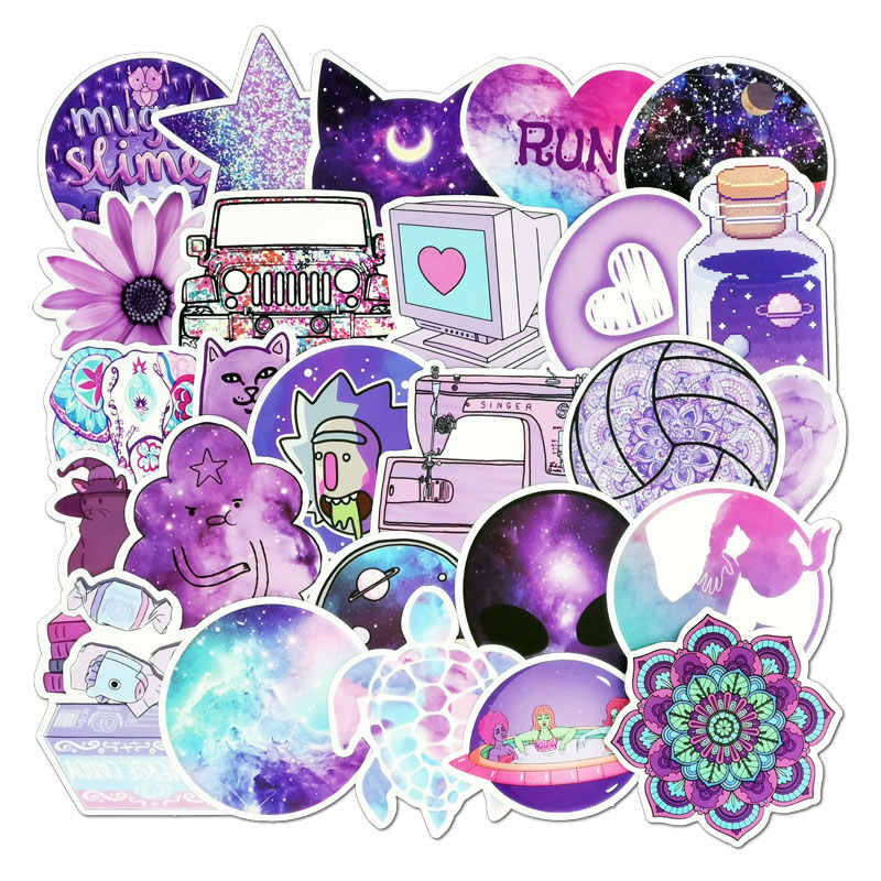 50 Premium PCS Purple pink VSCO Stickers Pack Waterproof Cool Girl Stickers For Skateboard Laptop Suitcase Motorcycle Car Decal Toys