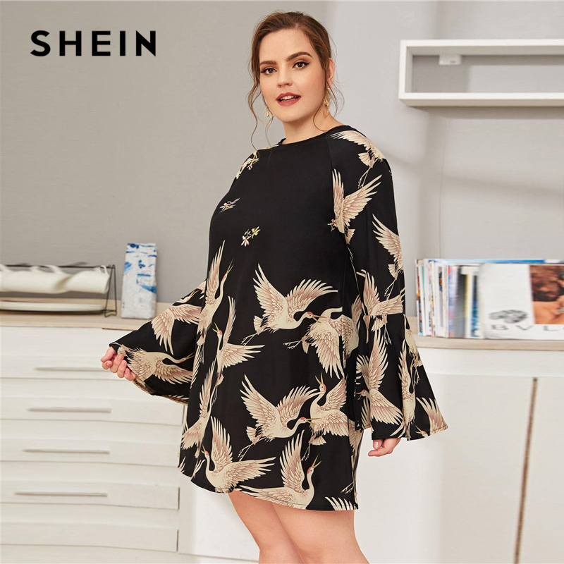 SHEIN Plus Size Black Crane Print Flounce Sleeve Dress Women Spring Summer Casual Tunic Straight Short Dresses 2