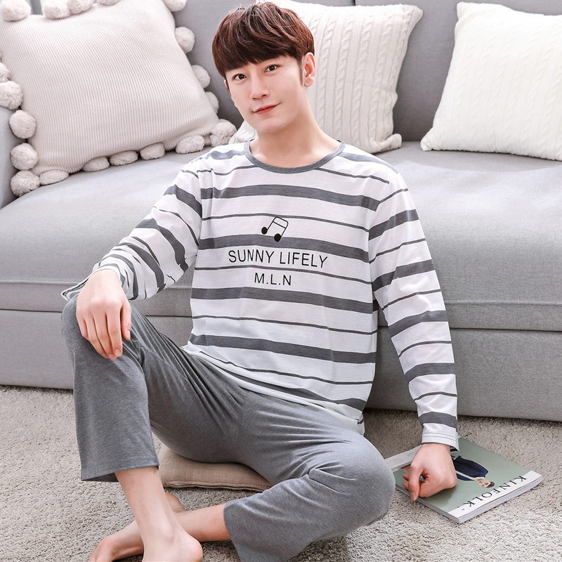 2019 Spring Autumn Thin Cotton Casual Striped Pajamas Sets For Men Long Sleeve Pyjama Sleepwear Homewear Male Loungewear Clothes