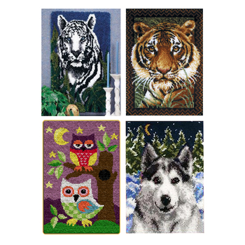 """Latch Hook Kits Rug Making Kit DIY for Kids/Adults/Beginners with Printed Animals Pattern 85"""" x 62"""" White Tiger/Tiger/Wolf/Owl"""