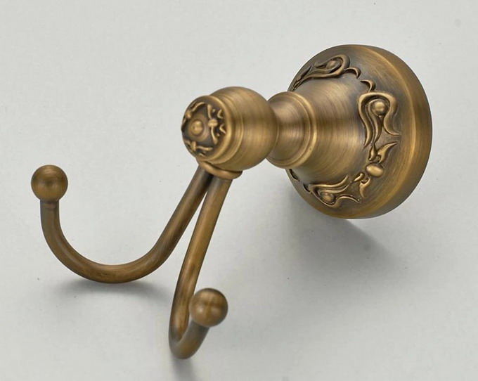 1PC Vintage Antique Brass Wall Mounted Bath Hook Hanger Clothes Rack Robe Useful