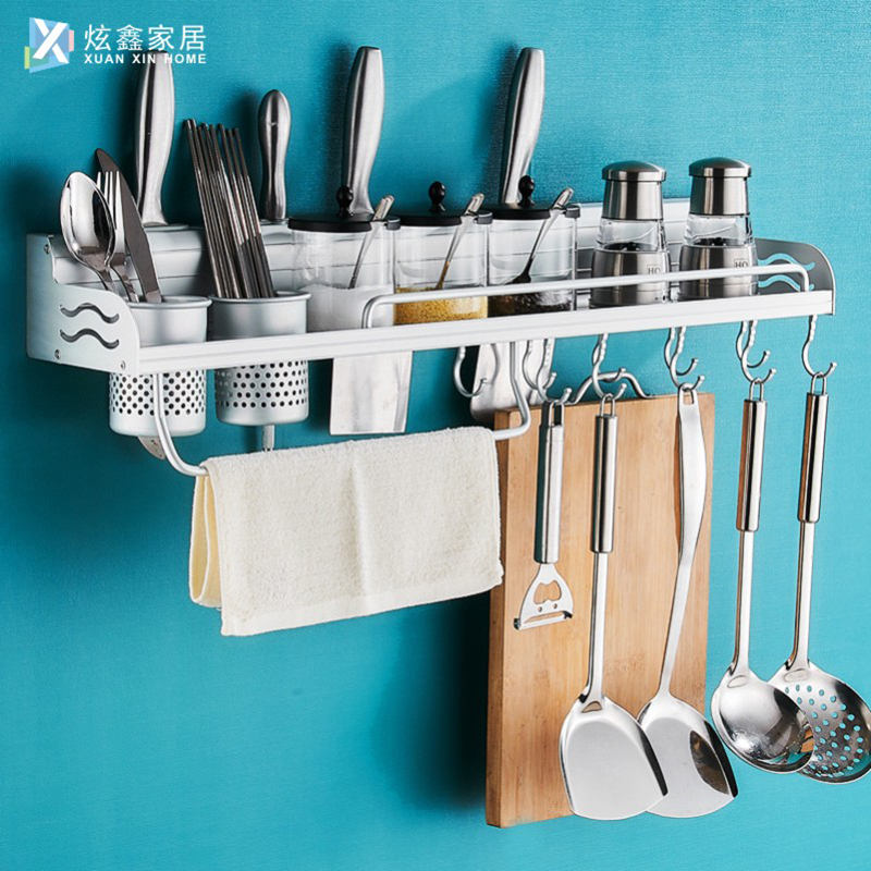Kitchen Rack Wall Hanging Seasoning Multifunctional Space Aluminum Storage Knife Rack Kitchenware Pendant Hook Rack Accessories image