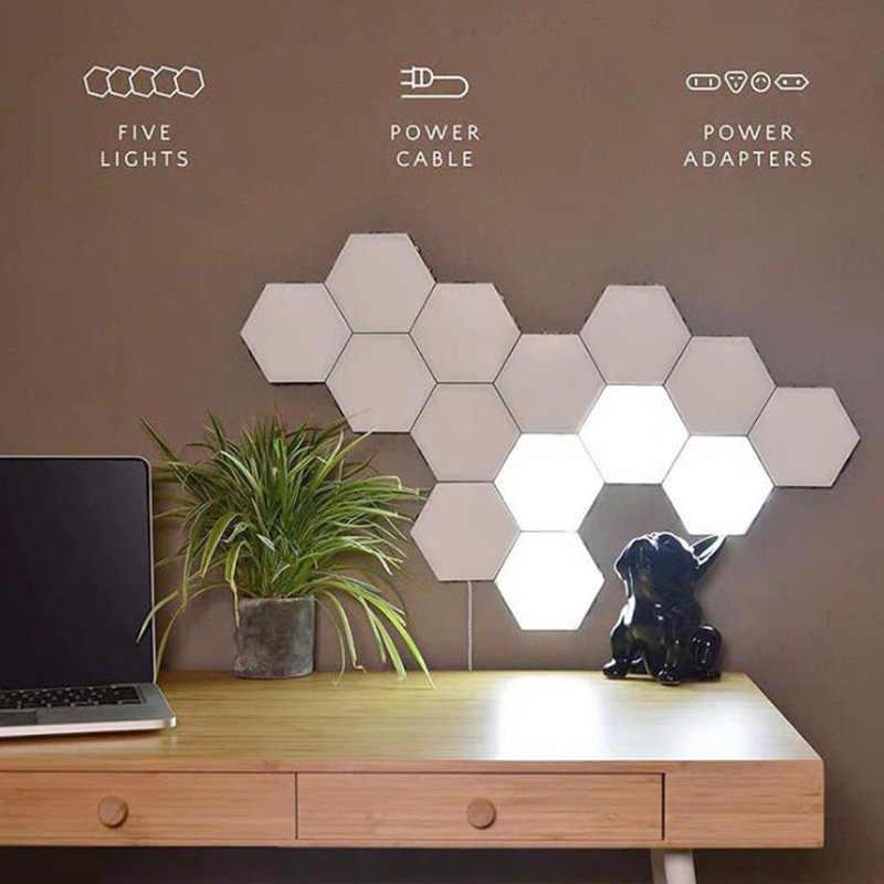110V 220V الاتحاد الأوروبي لنا اللمس التبديل مصابيح طاولة LED سداسية لمبة مكتب الكم مصباح إضاءة للطاولات وحدات الإبداعية ديكور السرير مصابيح