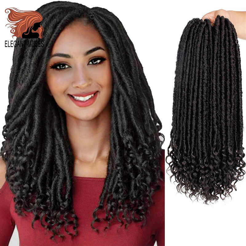 ELEGANT MUSES Synthetic 24Strands 16 inch&20 inch Goddess Faux Locs Ombre Grey Braid Hair Soft Pre Looped Crochet Braids