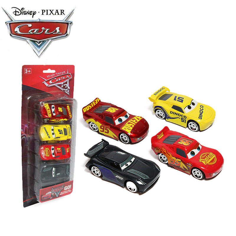 4pcs/set 7CM Disney Pixar Cars 3 Toys Lightning McQueen Jackson Storm Dinoco Mack Uncle Truck 1:55 Diecast ABS Car Model Boys