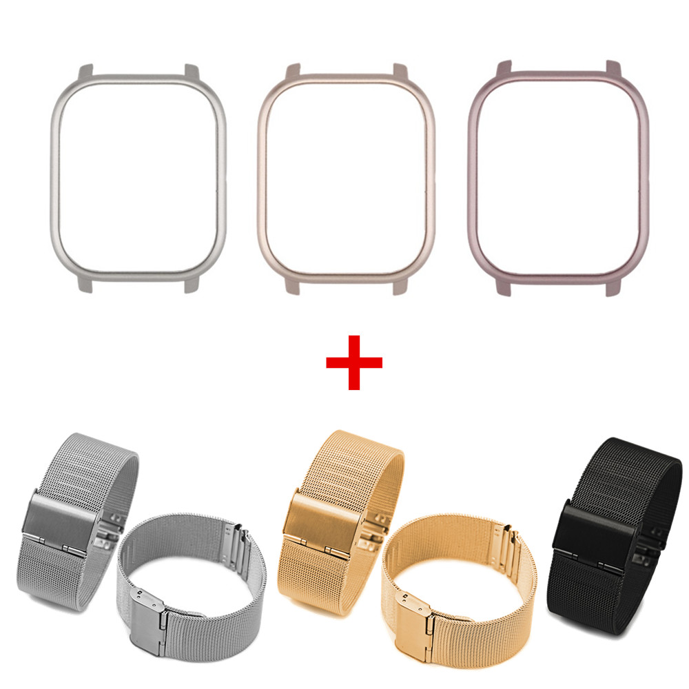 Smart Watch Strap PC Case For Huami Amazfit GTS 2in1 Metal Bracelet+Protective Cover For Xiaomi Amazfit GTS Full Shell Wristband