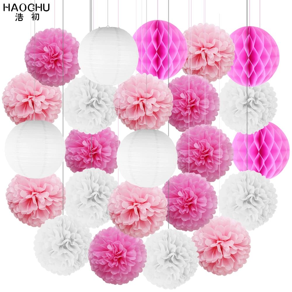 24Pcs/Set Hanging Paper Ball Lanterns Tissue Paper Pom Pom Flower Honeycomb Balls Lantern Wedding Birthday Christmas Party Decor