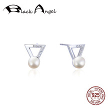 Geometric Triangle Shape Pearl Stud Earrings for Women 925 Sterling Silver Korean Wedding Fine Jewelry Accessories everoyal vintage crystal pearl earrings for women accessories trendy 925 sterling silver earrings jewelry female geometric bijou