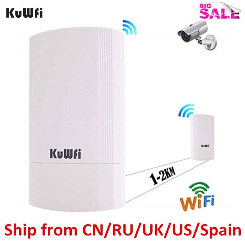 Routeur sans fil KuWFi routeur longue portée 5G 450Mbps Kit CPE pré-configuré point extérieur intérieur à point pont sans fil 1-3KM