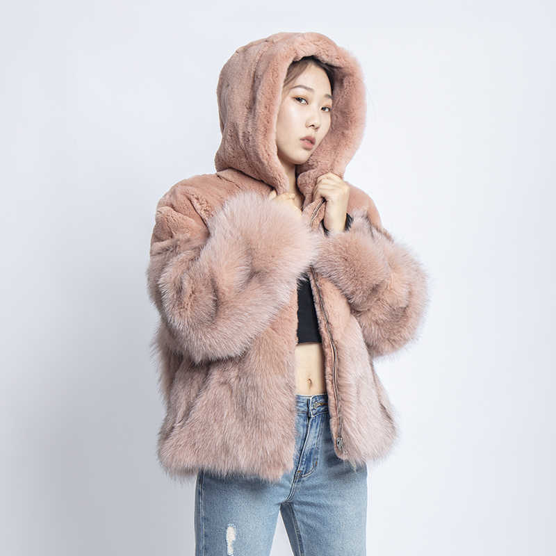 Deri ceket kış ceket kadın kısa ceket artı boyutu gerçek kürk tavşan mavi tilki kadın palto kış 2019 bayan giyim