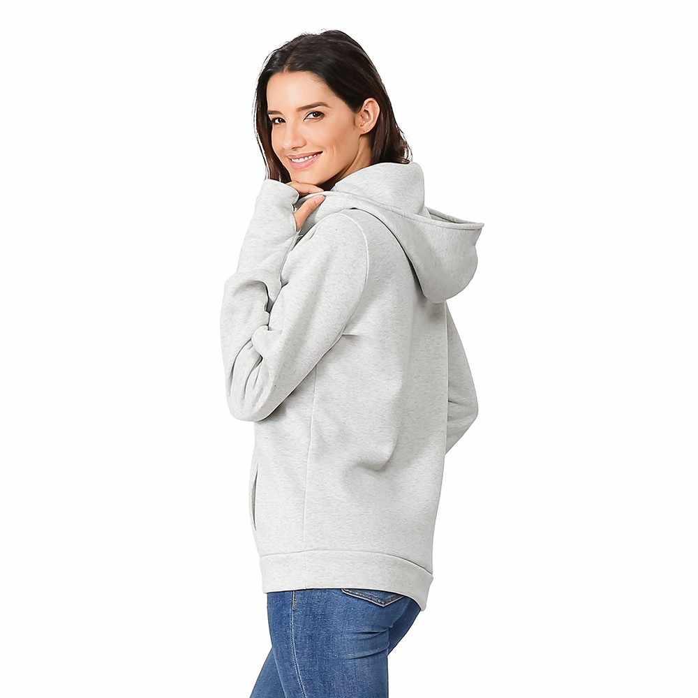 Jersey de premamá para mujer con capucha de manga larga para lactancia materna