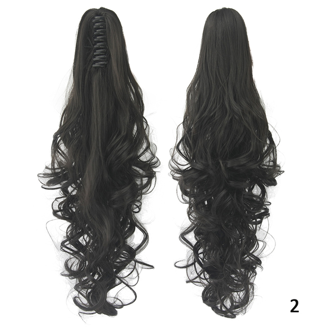 Soowee 24inch Long Gray Blonde Wavy Clip on Hairpiece Extensions Pony Tail High Temperature Fiber Synthetic Hair Claw Ponytails 3