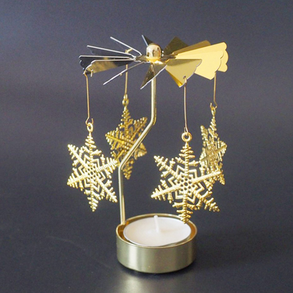Candlesticks Rotating Romantic Rotation Spinning Carrousel Tea Light Candle Holder Christmas Home Party Wedding Angel