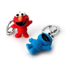 Anime Sesame Street PVC Figure Keychain Cookie Monster Doll Toys  Pendant Key Chain For Children Kid Gift Cartoon Keyring