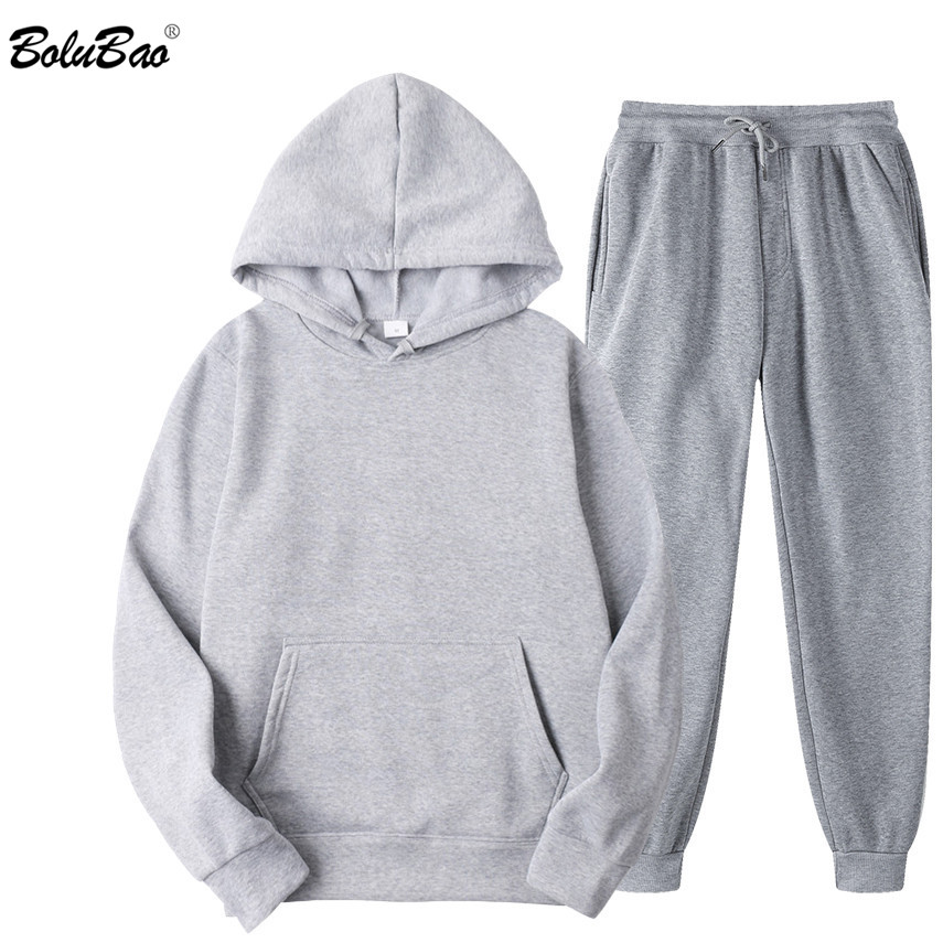 BOLUBAO Brand Men Sports Casual Sets New Men's Hoodies + Pants Two-Piece Suit Tracksuit Fashion Solid Color Sets Male 1